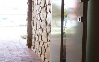 Norstone Ochre Monarostone wall cladding exterior hallway
